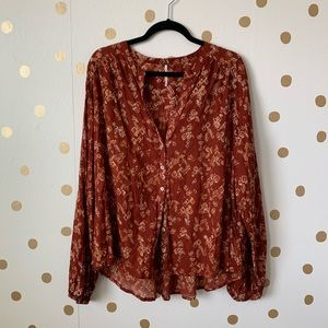 Free People Tops - Free People Printed Button Down Balloon Sleeve Top